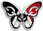 Beautiful Butterfly  With Black Country West Midlands Flag Vinyl Car Sticker 130x90mm